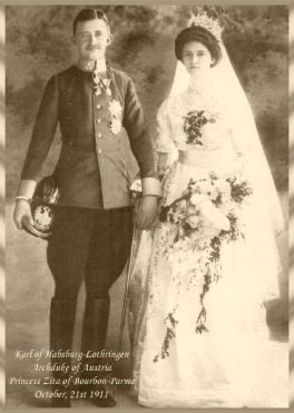 Wedding picture of Emperor Karl and Empress Zita